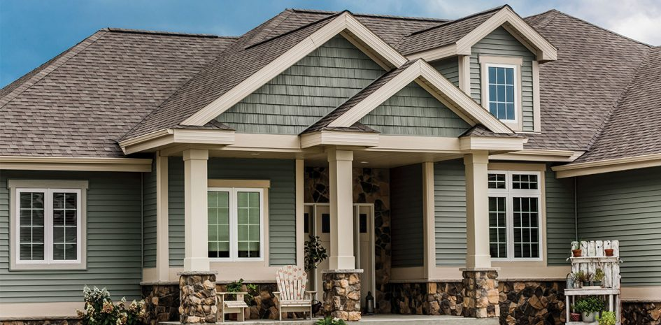 Green Siding and Stone Combo on Shelby Township Home
